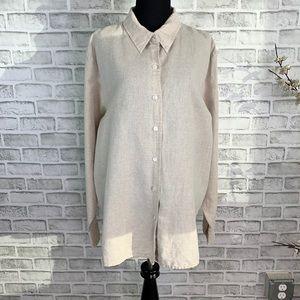 Liz Claibourne Women's Linen Blend Long Sleeve Top